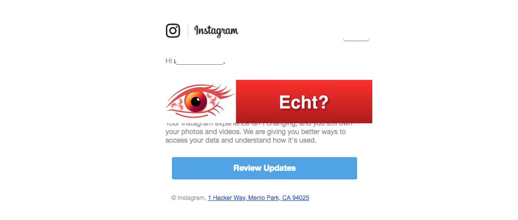 2018-04-25 E-Mail von Instagram zu neuen Datenschutzrichtlinien ist echt