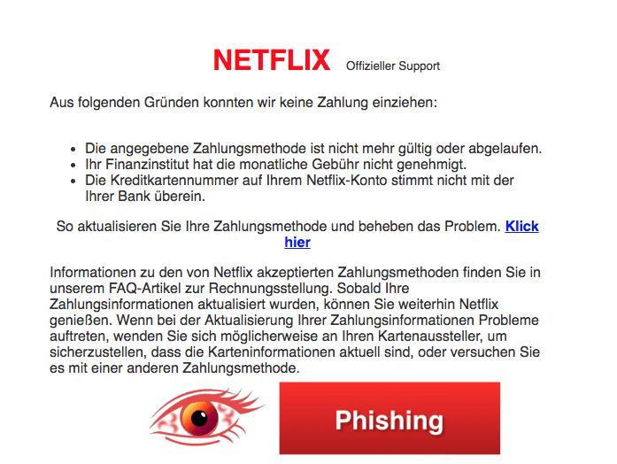 2018-04-29 Netflix Phishing Aktualisieren Sie Ihre Zahlungsinformationen