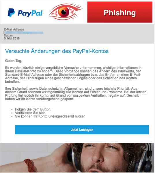 2018-05-04 PayPal Spam Versuchte Änderungen des PayPal-Kontos