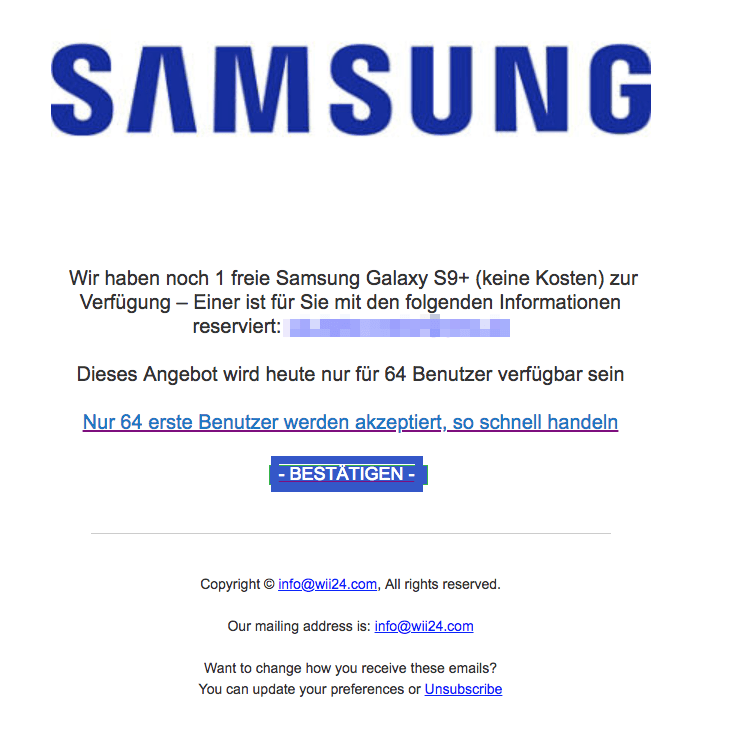 2018-05-04 Smasung Fake-Mail Abofalle Galaxy S9