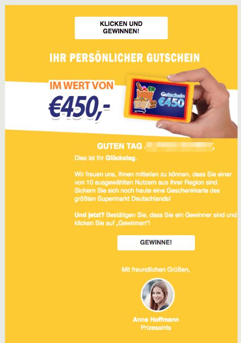 2018-05-08 Aldi Spam Nachricht Gewinn 450 Euro Gutschein