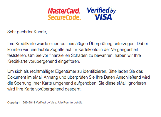 mastercard spam mail