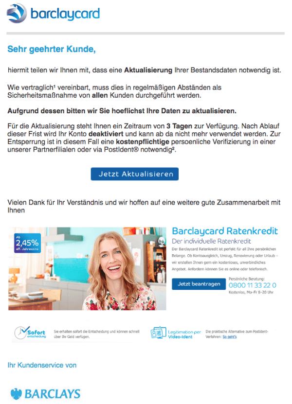2018-05-22 Barclaycard Spam Mail Nachricht von Ihrem Online-Kundenservice
