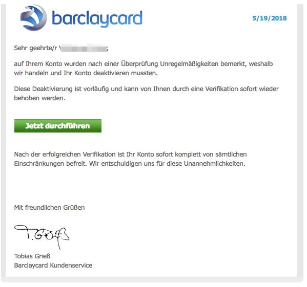 2018-05-22 Barclays Bevorstehende Sperrung Ihres Kontos