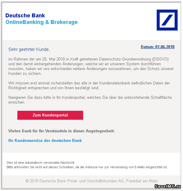 2018-06-01 Deutsche Bank Spam Mail DSGVO
