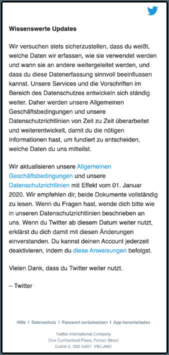 2019-12-05 Twitter E-Mail Aktualisierung unserer Allgemeinen Geschäftsbedingungen und Datenschutzrichtlinie