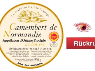 Rückruf camembert de normandie tradition 250 g