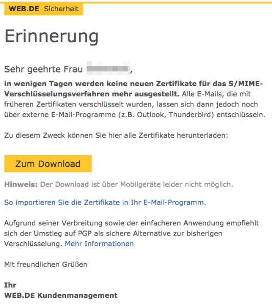 E-Mail web-de Erinnerung Download Zertifikate
