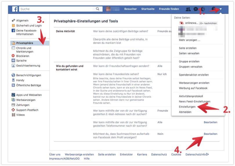 Facebook Google Suche deaktivieren