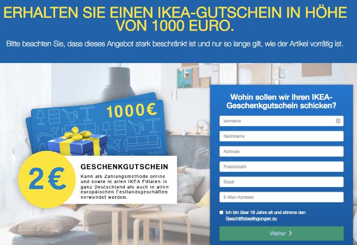 Fake IKEA Gewinnspiel 1000 Euro Geschenkkarte fuer 2 Euro bestellen