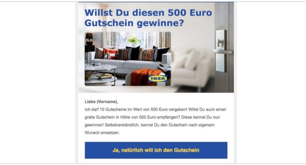 """E-Mail Spam: """"Ich darf 10 Gutscheine im Wert von 500 Euro vergeben!"""" ist nicht von IKEA"""