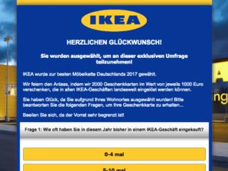 Gewinnspiel im Namen von IKEA ist Abofalle