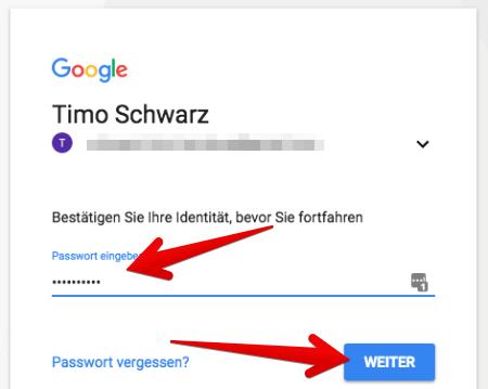 passwort google konto ändern