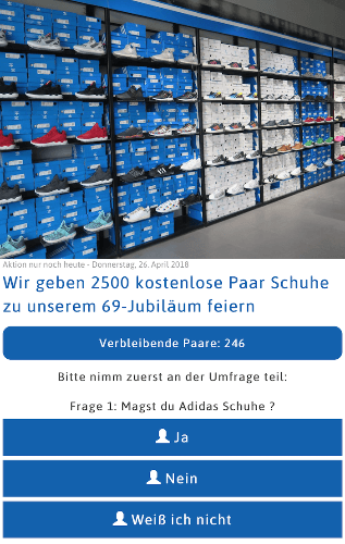 Facebook/WhatsApp Kettenbrief mit Addidas-Schuhen kostenlos - Abofalle