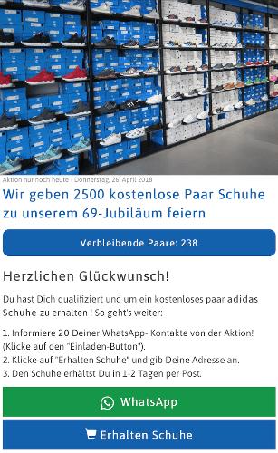 Kettenbrief 2500 kostenlose Adidas Schuhe 2