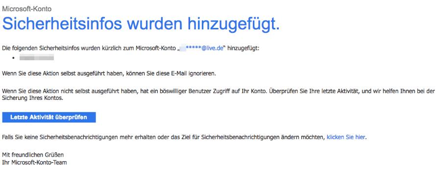 Microsoft E-Mail Sicherheitsinfos für das Microsoft-Konto hinzugefügt