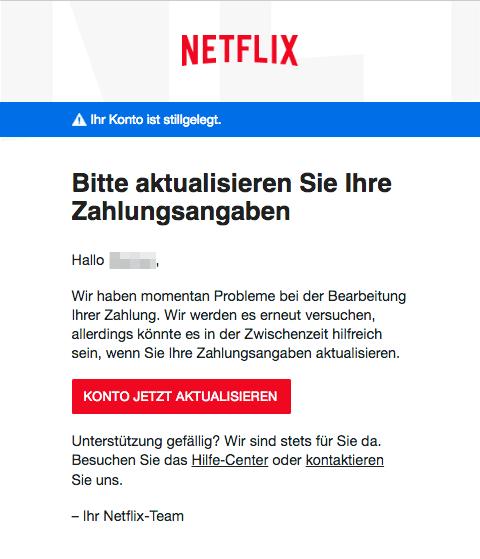 Netflix E-Mail Betreff Aktualisierung erforderlich – Netflix-Konto stillgelegt