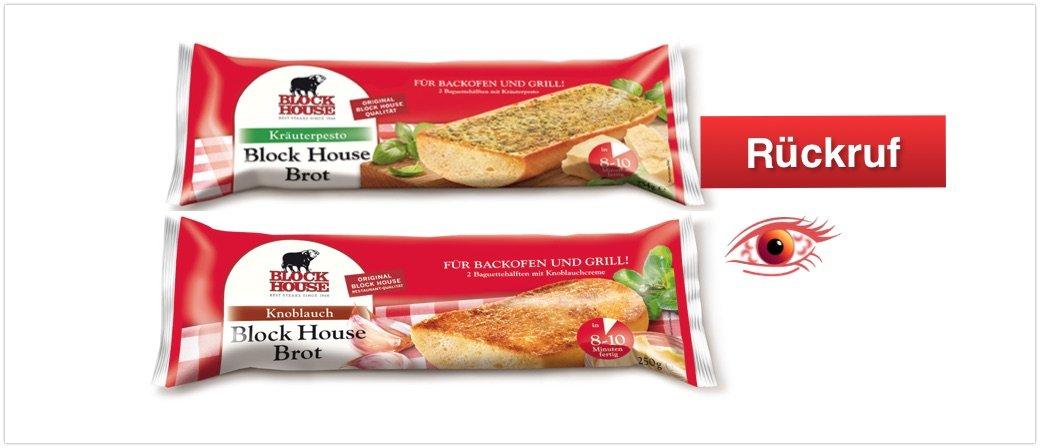 Rückruf Block House Brote