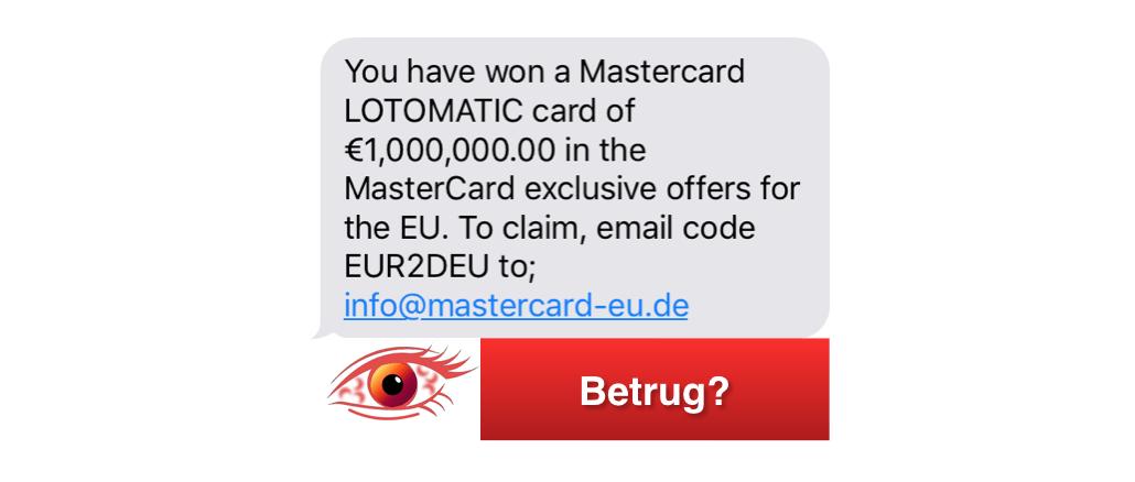 SMS mit Gewinn im Namen von MasterCard