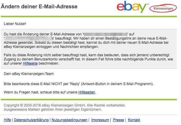 ebay Kleinanzeigen Mail Änderung der E-Mail-Adresse