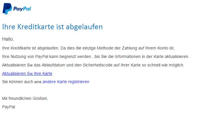 2018-05-08 PayPal Fake-Mail Aktualisieren Sie Ihre Karteninformationen auf PayPal