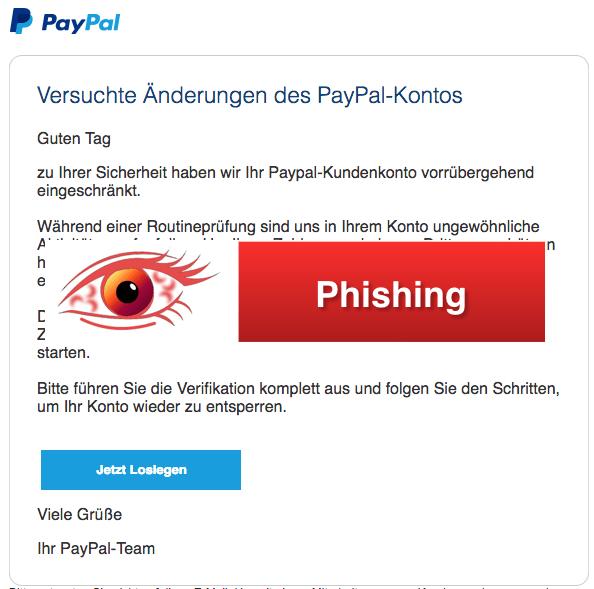 2018-05-08 PayPal Fake-Mail Versuchte Änderungen des PayPal-Kontos