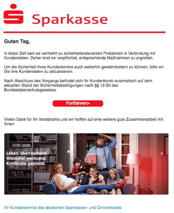 2018-05-09 Sparkasse Phishing Mail Nachricht vom Kundendienst