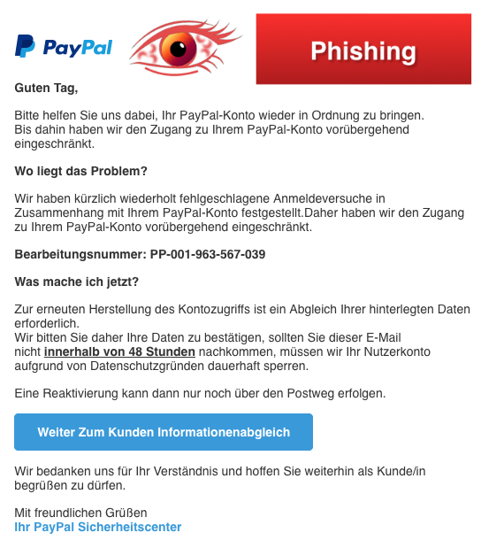2018-05-10 PayPal Phishing Konto eingeschraenkt
