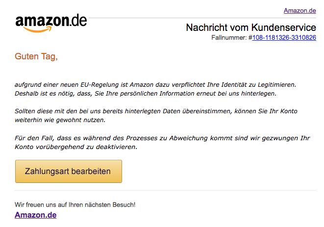2018-05-14 Amazon Spam-Mail Zahlungsquelle veraltet - Handlungsbedarf