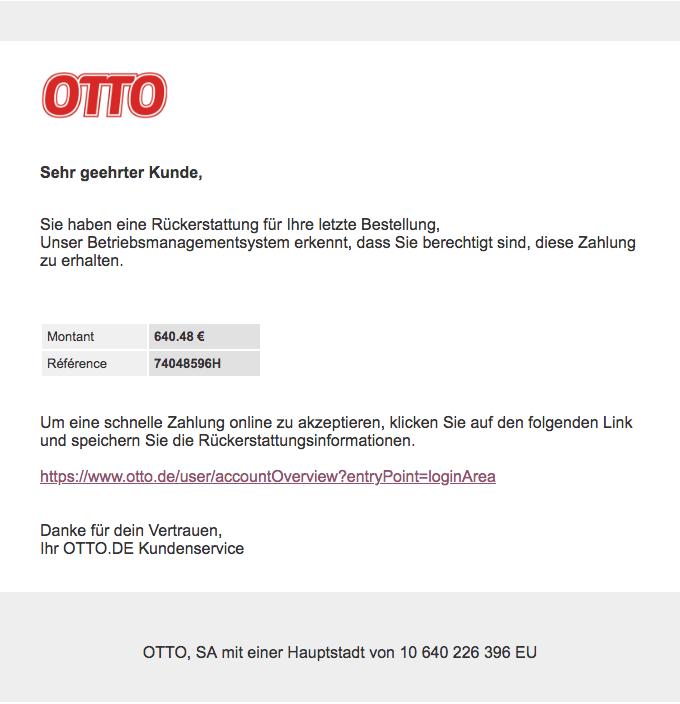 2018-05-14 Otto Phishing-Mail Rückzahlung