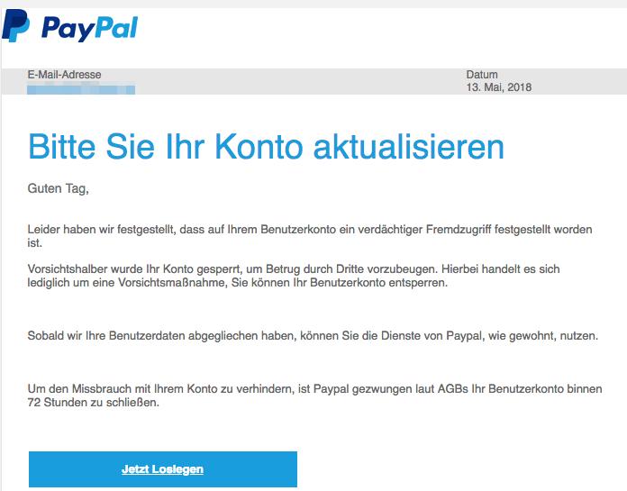 2018-05-14 PayPal Spam Fake-Mail Bitte aktualisieren Sie Ihr Konto