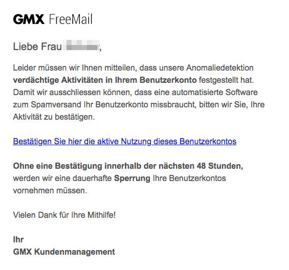 2018-05-17 GMX Fake-Mail Drohende Sperrung Ihres Benutzerkontos