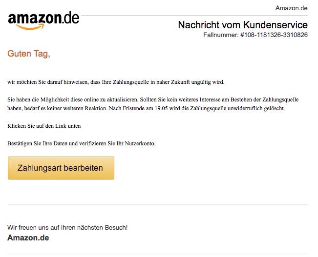 2018-05-22 Amazon Spam Rechnungsservice Zahlungsquelle veraltet