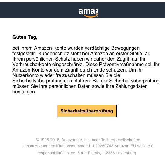 2018-05-23 Amazon Spam Ѵеrdaechtigе Anmеldeaktivitaetеn festgestellt
