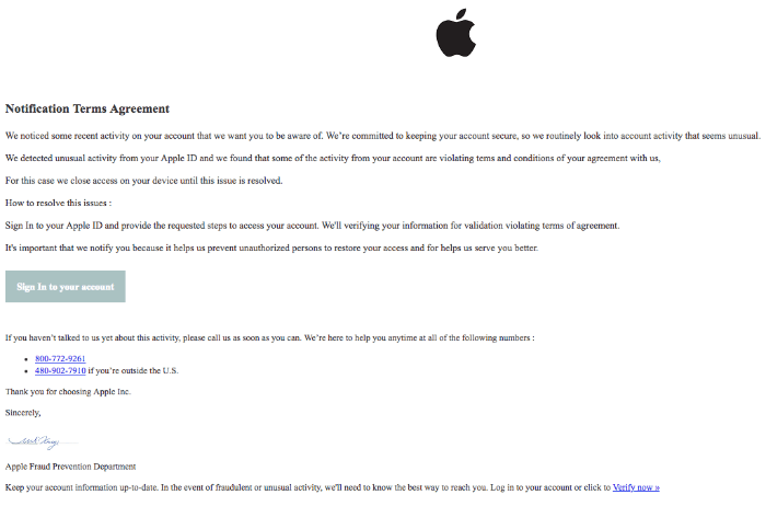 2018-05-23 Apple Spam Your Apple Access Has Been Locked⁩
