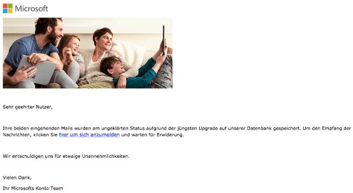 2018-05-23 Microsoft Hotmail Spam Ihr Konto verlangt eine bestätigung der identität