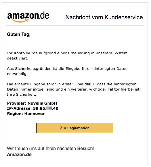2018-05-28 Amazon Spam Nachricht Handlung erforderlich