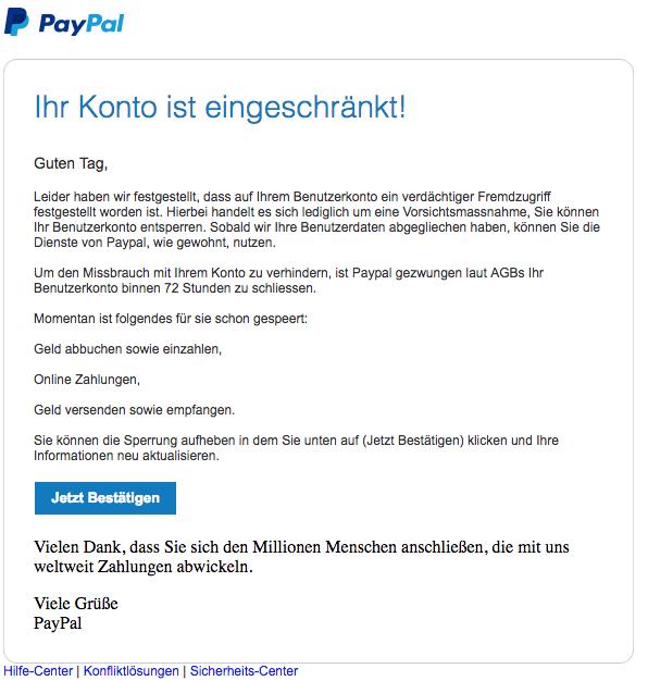 paypal email bitte aktualisieren sie ihr konto