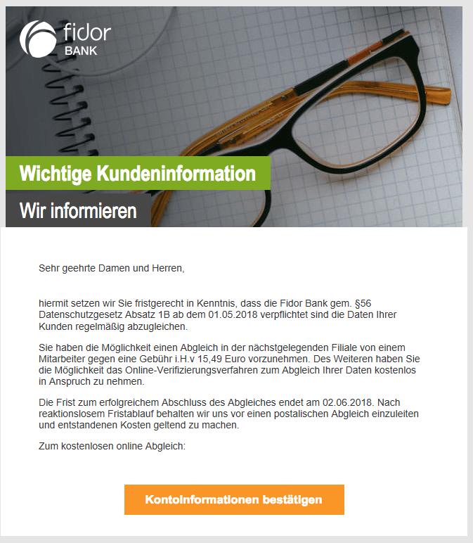 2018-06-07 Fidor Bank Spam Systemnachricht Bitte bestätigen sie Ihren Fidor Konto