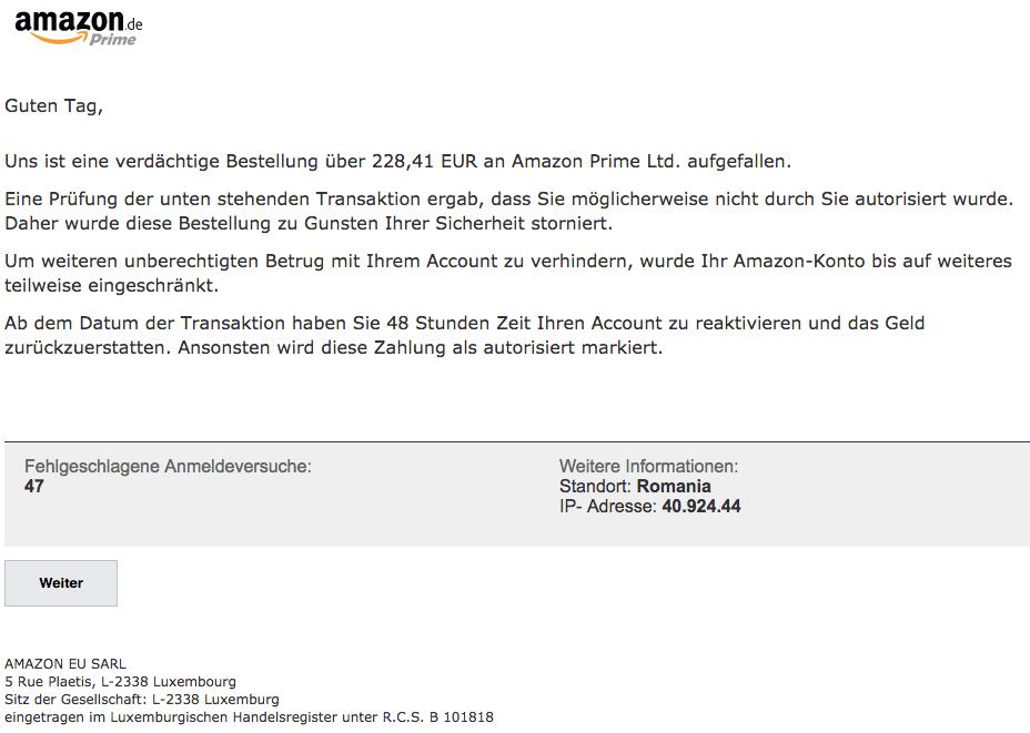 2018-06-11 Amazon Spam Ihre Mithilfe ist erforderlich