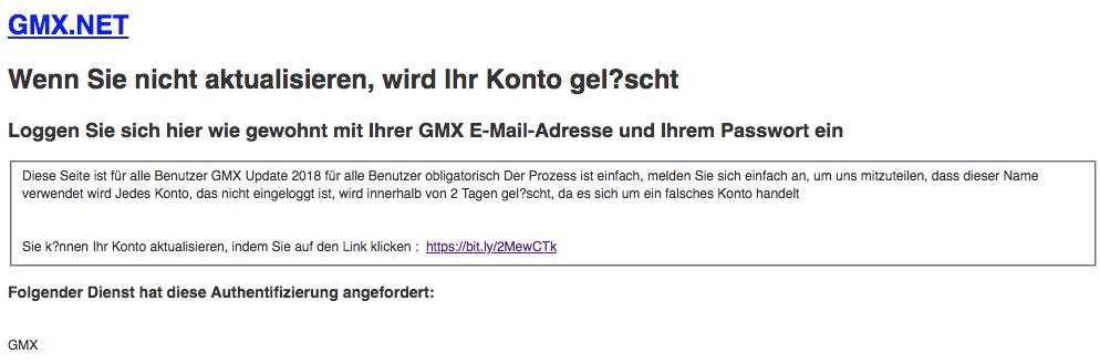 2018-06-22 GMX Phishing Wenn Sie nicht aktualisieren, wird Ihr Konto gelöscht