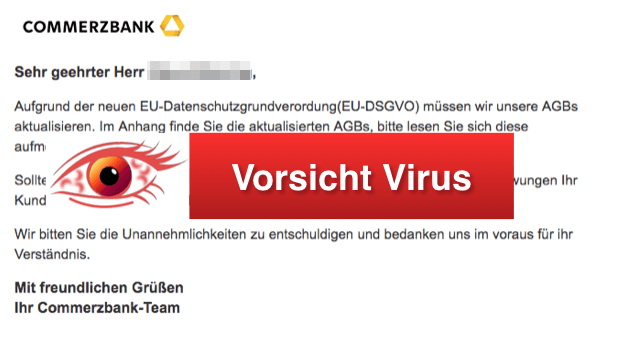 2018-07-02 Commerzbank Betrug Virus Mail Aktualisierung unsere AGBs