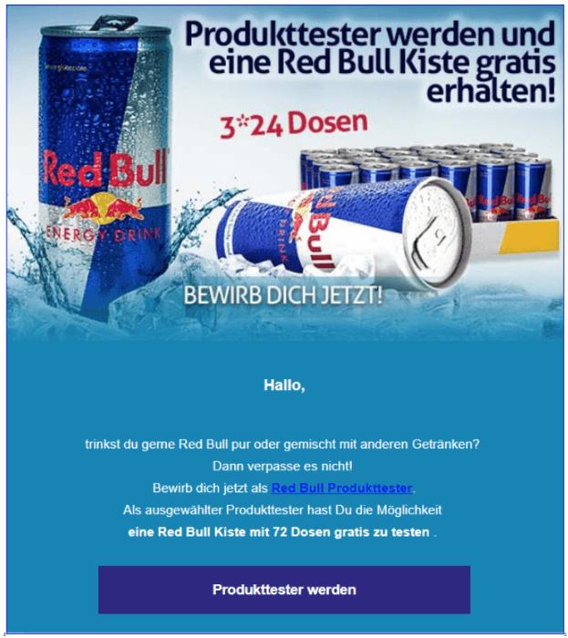 2018-08-24 Spam Mail Rd Bull Kiste gratis Produkttester