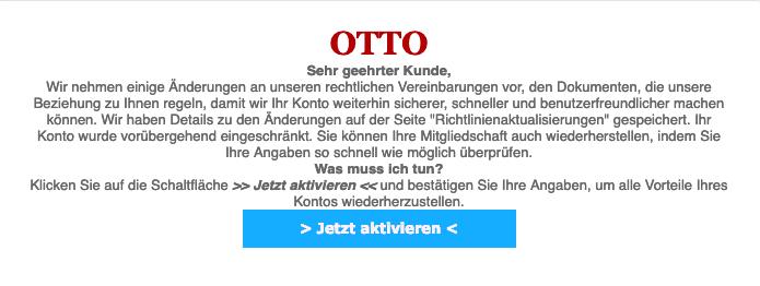 2019-03-04 Otto Phishing-Mail Spam Konto Benachrichtigung