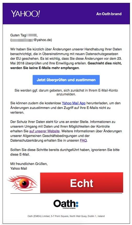 Entwarnung Yahoo Mail Datenschutz