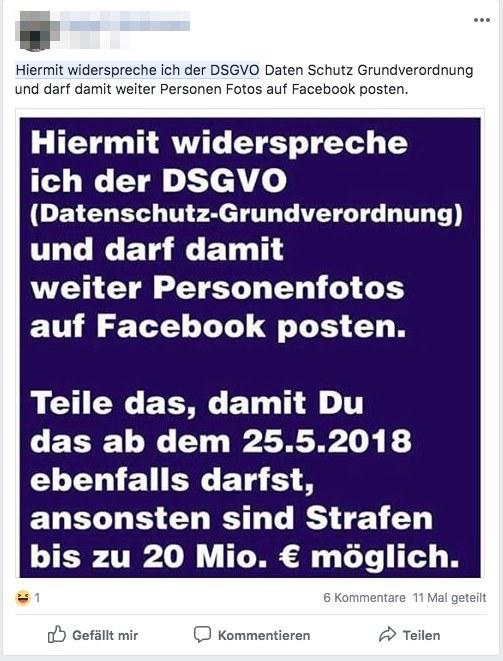 Facebook Kettenbrief DSGVO widcersprechen