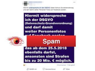 Facebook Kettenbrief DSGVO widersprechen