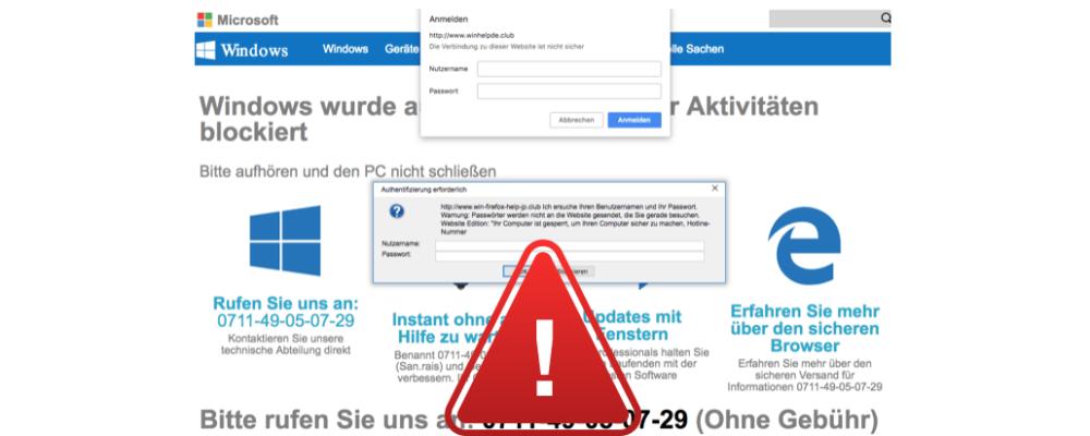 Vorsicht: Gefälschte Viruswarnung im Namen von Microsoft lockt in Kostenfalle