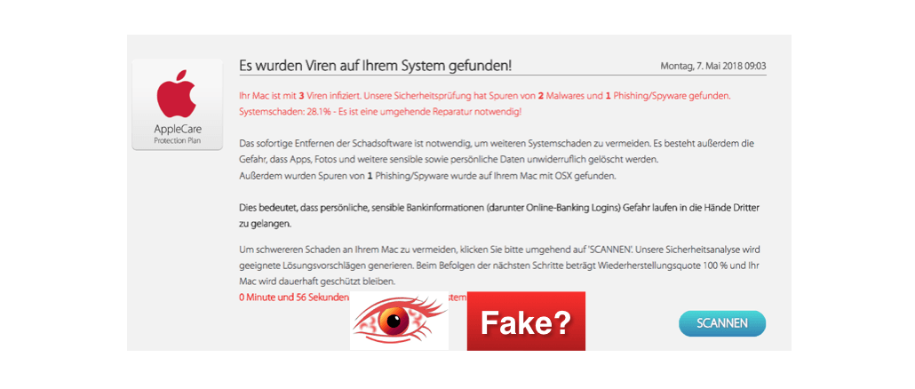 Fake-Viruswarnung Trojaner Spyware im Namen AppleCare