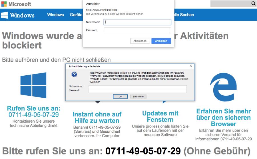 Fake-Warnung im Browserfenster im Namen von Microsoft